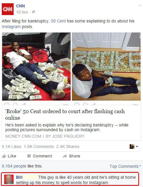 50 cent is broke