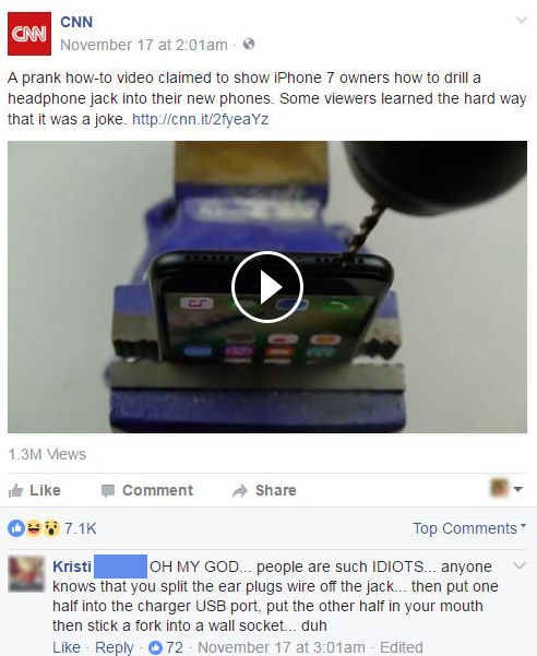funny facebook comments iphone drill hack