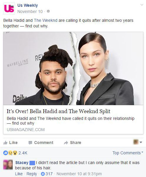funny facebook comments the weekends hair