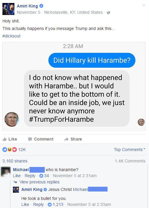 funny facebook comments who is harambe