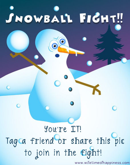 snowball fight game facebook share snowman