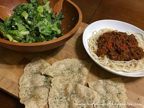 what I eat in a day Vegan dinner spaghetti and caesar salad wifetime of happiness