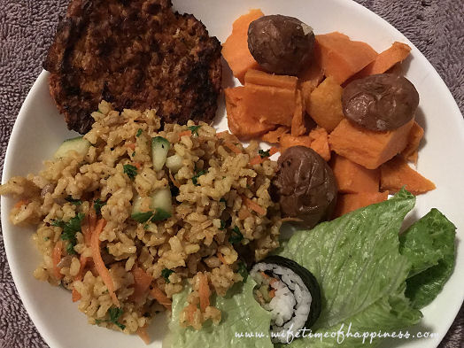 what I eat in a day vegan bbq burgers sweet potatoes and rice salad