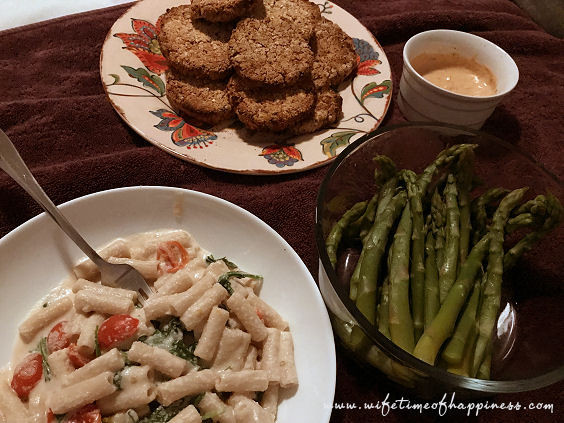 what I eat in a day vegan dinner crab cakes with alfredo wifetime of happiness