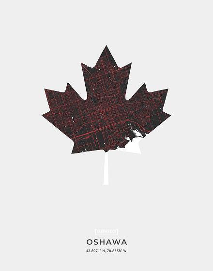 Oshawa Ontario Map Art Print Saltwreck